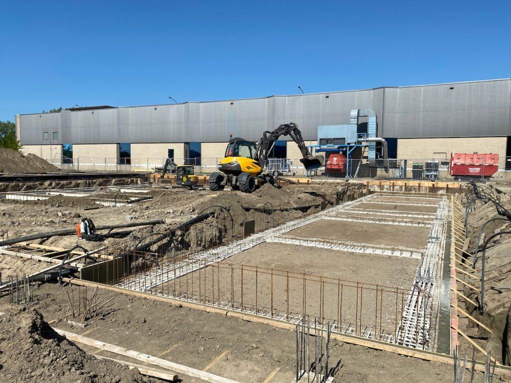 Bouw van het nieuwbouw pand